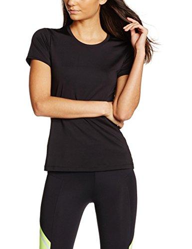 IRIS & LILLY Camiseta deportiva de manga corta para mujer Negro (Black