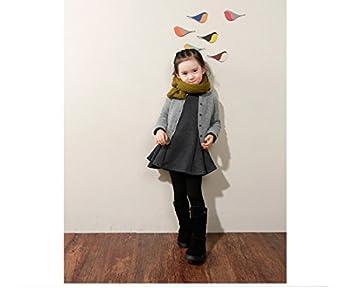 M-g-x Children 'S Clothing Autumn & Winter New Girls Cotton Thick Bow Peng Peng Dress Size 140cm (Gray) 6