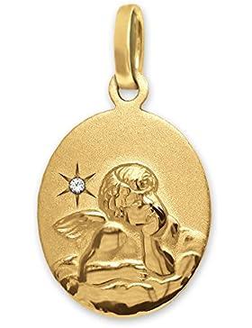 CLEVER SCHMUCK-SET Goldener Anhänger Engel oval 14 mm klassisch auf Wolke mit Diamant 0,005 ct 333 GOLD 8 Karat...