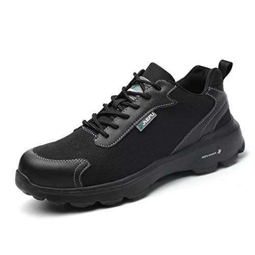 Scarpe Antinfortunistiche Uomo con Punta in Acciaio Scarpe da Lavoro Antinfortunistiche Sportive Sneaker Ultraleggeri Traspirante Nero Camo 36-45 BKW45