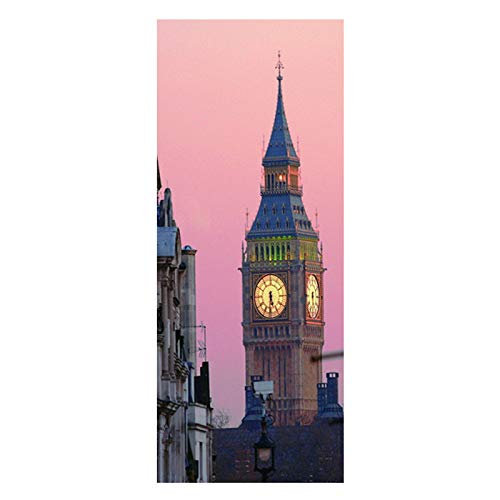 XIAOLY DIY Kühlschranktür Aufkleber London Big Ben/Schlafzimmer Wohnzimmer Tür Wandaufkleber/Wasserdicht Vinyl Aufkleber, Kunst Wandaufkleber Dekoration (60x180 cm),60cmx150cm (Big Ben Schneiden)