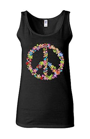 Floral Peace Sign Flower Summer Novelty Black Women Vest Tank