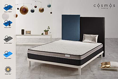 COSMOS Matelas Galaxy - Mémoire de Forme Visco V200 et Visco V90 - Mousse Support Blue Latex et Active Latex Effet Mémoire - 24 cm - Confort Souple - 140 x 190 cm