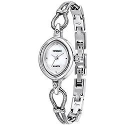 Time100 Women's Originality Simple Luxury Round Shell Dial Plated Alloy White Bracelet Chain Ladies Quartz Wrist Watches #W40123L.01A