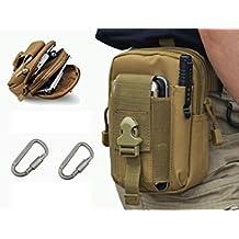 YCNK All'aperto multiuso Molle Tactical Pouch EDC Utility Gadget Cintura Bag Khaki con 2 clip D-Ring