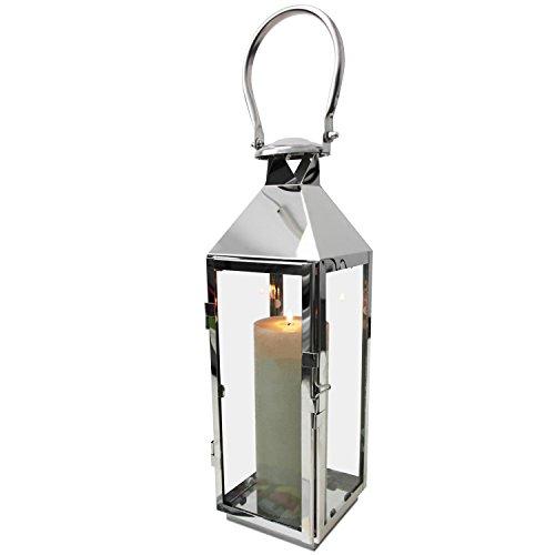 Multistore 2002 Edelstahl Laterne in Silber H40cm Gartenlaterne Windlicht mit Henkel Edelstahlgestell mit Glasfenstern Kerzenhalter