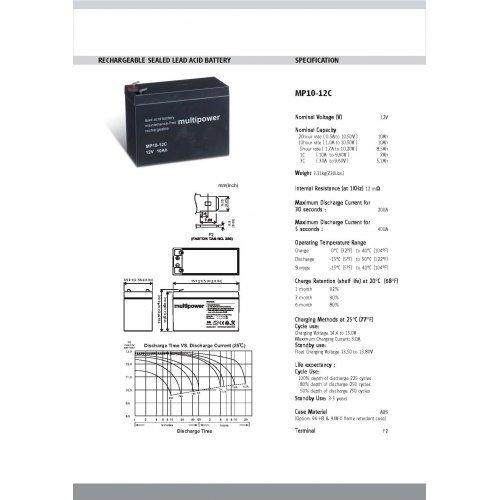Preisvergleich Produktbild Premium Powery Bleiakku (multipower) MP10-12C zyklenfest, Lead-Acid, 12V