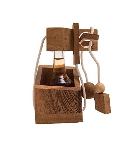 ROMBOL Get Drink? - gefangene Miniflasche, ein teuflisches Seilpuzzle, Verpackung für Miniflaschen, Denkspiel, Knobelspiel aus Holz