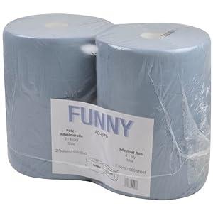 Funny Putzpapierrollen, 3 lagig, recycling blau, circa 36 cm, 500 Blatt, 1er Pack (1 x 2 Stück)