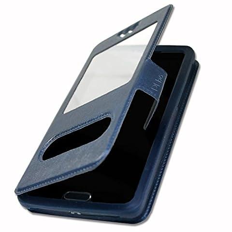 Etui Housse Coque Folio bleu pour Samsung Wave 3 S8600