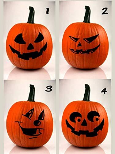 Kürbis Gesichter Schnitzen - CECILIAPATER Halloween-Kürbis-Aufkleber, lustiges Gesicht, DIY-Aufkleber, 4