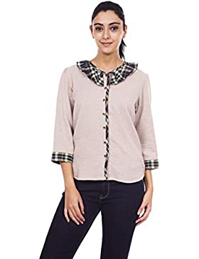 9teenagain beige señoras 3/4 mangas superior ocasional de la túnica de algodón - Tamaño disponible