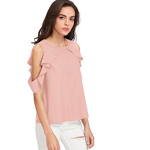SOLYHUX Femme Top manches courtes T-shirt epaule nue Blouse Col Rond Tee couleur unique Tunique Rose Rose