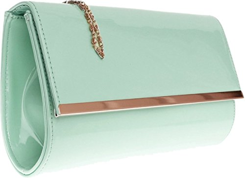 H&G Ladies Patent Glossy Fashion Clutch  Evening Bag (Flesh) Cyan