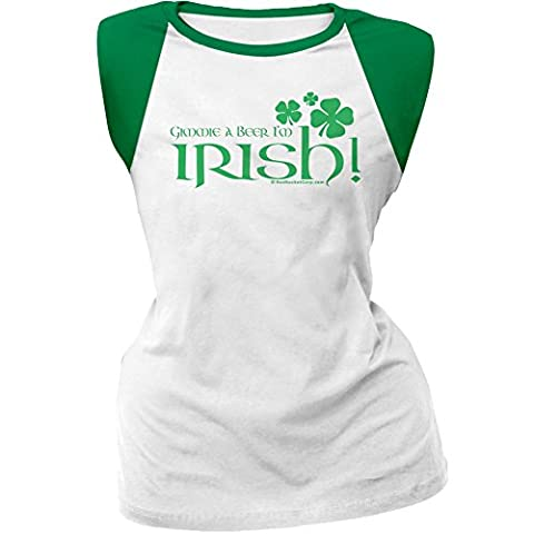 St. Patricks Day - Gimmie A Beer I'm Irish White/Green Cap-Sleeve Raglan T-Shirt - Small