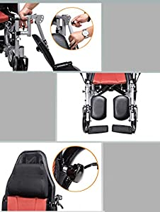 Multi-Function Electric Wheelchair Widening Anti-Skid Adjustable Pedals Adjustable backrest wheelchairs Stand-up Hand Brakes Leather Leg Cushions Anti-Dumping Rear Wheel wheelchairs