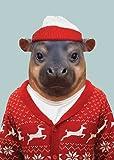 Lagom Design Pygmy Hippopotamus Zoo Portraits Weihnachstkarte