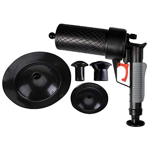 Luftdruck-Abflusspumpe Rohrbaggerwerkzeuge, Druckpumpenreiniger, Hochdruck-Abflussöffner für WC-Badezimmer mit 4 Saugern (schwarz)