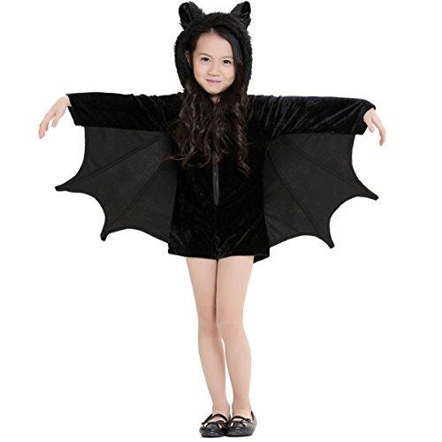 Dreamworldeu Kinder Fledermaus Kostüm Schwarz Fledermäuse Overall für Halloween Fasching Fastnacht Party