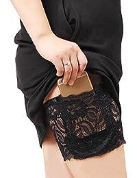 Femmes lacent les cuisses chaussettes anti-frottement cuisse chaussette jambières avec poche de téléphone portable