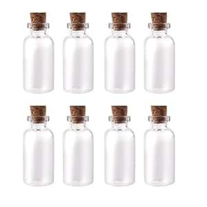 """Butterme 10 Stück Mini Glasflasche mit kleine Glasflaschen Korkenflaschen Tops 50mm 2"""" 10ml(50mm*22mm)Mini Fläschchen Nachricht Charms Gläser Hochzeitsgeschenke"""