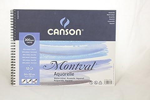 'CANSON bloc spirale AQ Montval Aquarelle Fine, 300g/m², 12Feuilles par bloc
