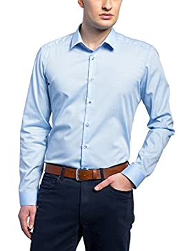 Eterna Herren Hemd Super Slim Fit Struktur hellblau 8623 Z181 12