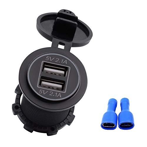 KNOSSOS 5V 4.2A Dual USB Charger Socket Adapter Outlet for 12V 24V Motorcycle Car - Blue