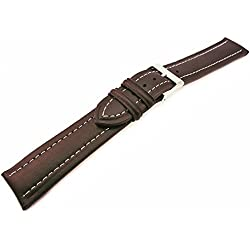 Brown Genuine Leather Padded Watch Strap Band 20mm XL Extra Long