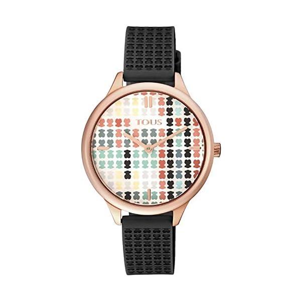 Reloj Tous 900350135 Tartan Acero IP Rosado con Correa de Silicona Negra