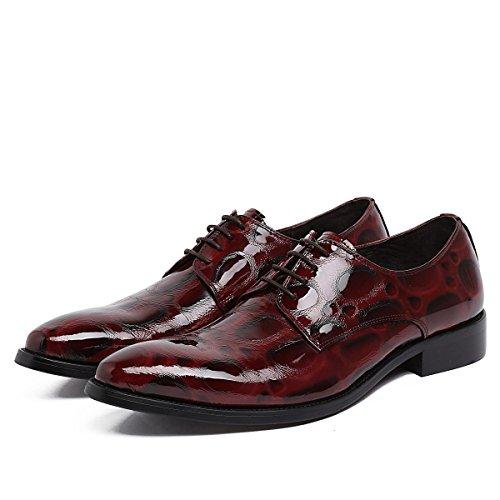 GRRONG Chaussures En Cuir Pour Hommes Robe Formelle Pointu Véritable Banquet En Cuir Redwine