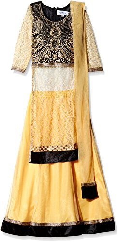 Atayant Girl Lehenga Choli (ATAYK_032_2:3YR_Black:Gold_S)