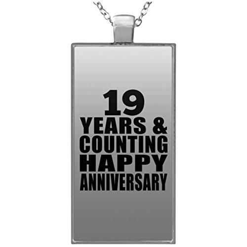 Happy 19th Anniversary 19 Years & Counting - Rectangle Necklace Halskette Rechteck Versilberter Anhänger - Geschenk zum Geburtstag Jahrestag Muttertag Vatertag Ostern