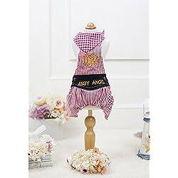 YQYQYQ Coole Bib Shorts Frühling/Sommer Striped Schal Bib Vier-Fuß Teddy Bibby Kleidung Cute Puppy, rote und weiße Streifen, L