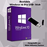 Windows 10 Pro 32 bit & 64 bit Bootable USB-Stick von Main Software Partner - Originaler Lizenzschlüssel - Deutsche Vollversion
