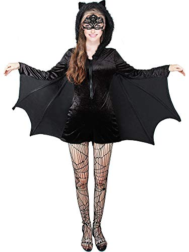 Kostüm Größe Plus Fledermaus - Halloween Frauen Plus Größe Gemütliches Fledermaus Reißverschluss Kleid Kostüm (M)