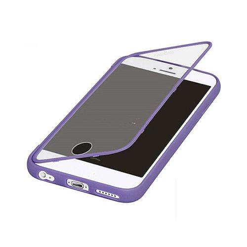 F8Q antichoc Robuste Colorful Hybrid Transparent Window caoutchouc flip étui de protection pour iPhone 6S plus Violet
