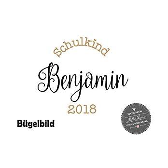 Bügelbild Schulkind Kindergarten mit Name Kalligraphie in Flex, Glitzer, Flock, Effekt in Wunschgröße