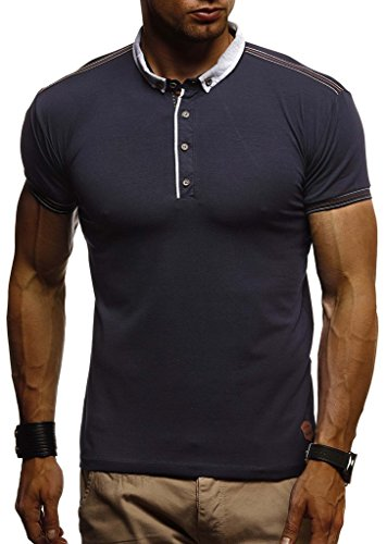 LEIF NELSON Herren Sommer T-Shirt Polo Kragen Slim Fit Baumwolle-Anteil | Basic schwarzes Männer Poloshirts Longsleeve-Sweatshirt Kurzarm | Weißes Kurzarmshirts lang | LN1310 Dunkel Blau X-Large -