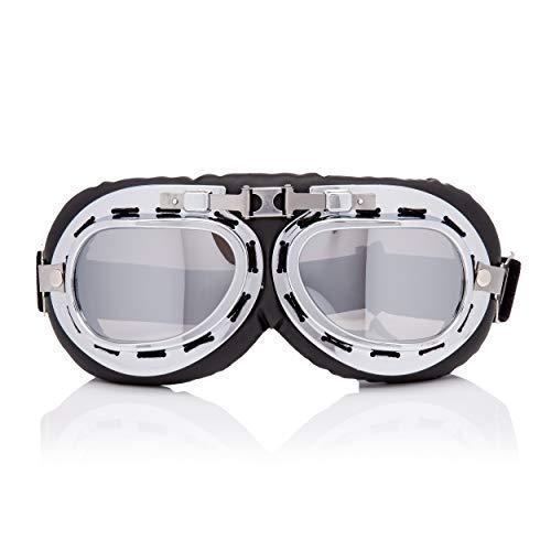 Ultra Silber mit Verspiegelten Gläsern Vintage Klassischer Motorradhelm Steampunk Pilot Flugbrille Retro Brille Motorrad Gothic Cyber Cosplay WW2