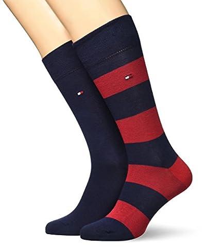 Tommy Hilfiger Herren TH Men Rugby Sock 2P 2er Pack, Blau (Tommy Original 085), 43/46 (Herstellergröße: 43)