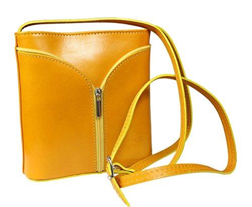 Schöne praktische Leder Gelbe Umhängetasche aus Leder Lea Gialla Scura über die Schulter Gelb Toms Schuhe