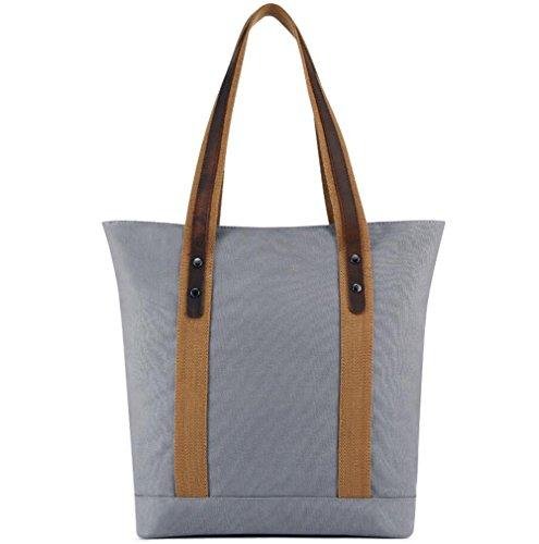 TINGTING Damen Hobo Bag Canvas Slouch Tasche Große Totes Shoulder Handtasche Für Shopper,Gray (Frauen Slouch Handtaschen Für)