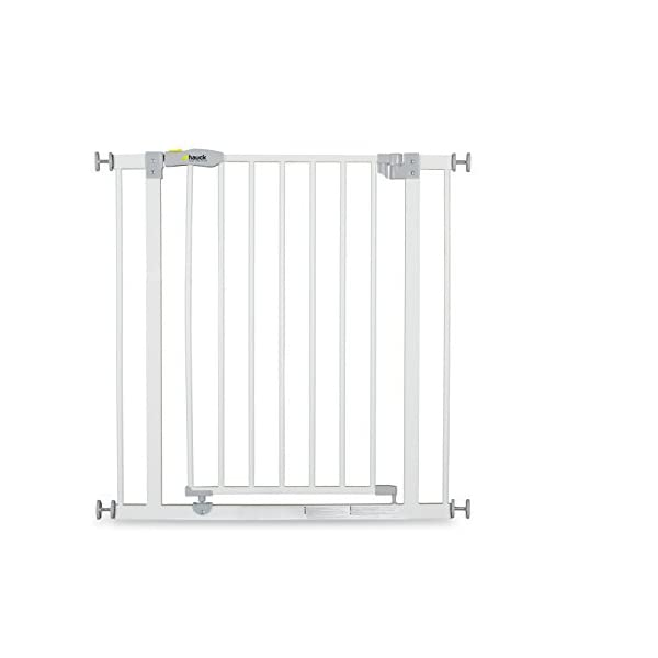 Hauck Open N Stop stair gate including 21 cm extension, gate guard for children, 96 - 101 cm, without drilling, White Hauck Easy to fix Locking mechanism for double safety Opens to both sides 7