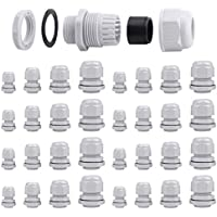 32 Pcs Prensaestopa Impermeable, ARPDJK Ajustable 3-15mm IP68 Prensaestopas con Contratuerca Cable Gland Conectores, Nylon Conector Cable Glandula, M12, M16, M20, M25