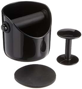 Business Coffee 4443 Barista-Set Basic, Grindenstein Abklopfbehälter mit Tamper und Andrückmatte, schwarz
