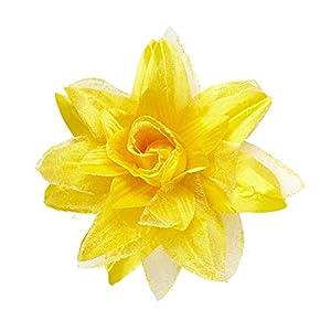 WIDMANN?Pasador Pelo Flor con Glitter para adultos, amarillo, talla única, vd-wdm04126