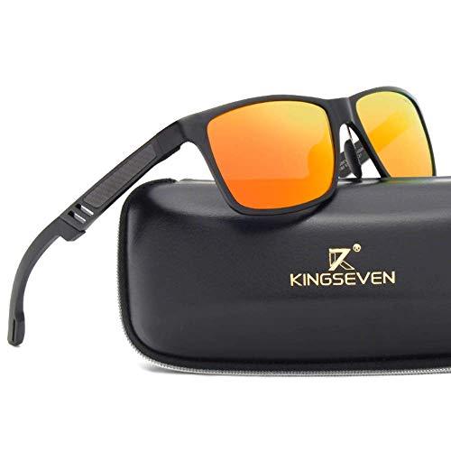 Kingseven Carbon Sonnenbrille Rechteckig UV400 Polarisiert HD Vision Outdoor Sommer Sport Trekking Auto (Schwarz, Orange)
