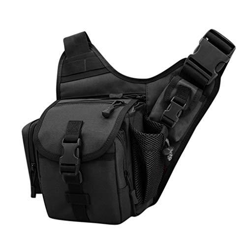 TIREOW Angelkoffer, Fischertasche, Ködertasche Karpfentasche Gerätetasche Bag Boxen Bauchtasche Bag Angeltaschen Angeltasche für Fischer Angelzubehör (Schwarz)