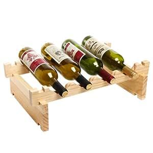 Vertical en bois à empiler Casier à vin - 4 bouteilles de rangement modulable-MyGift naturel